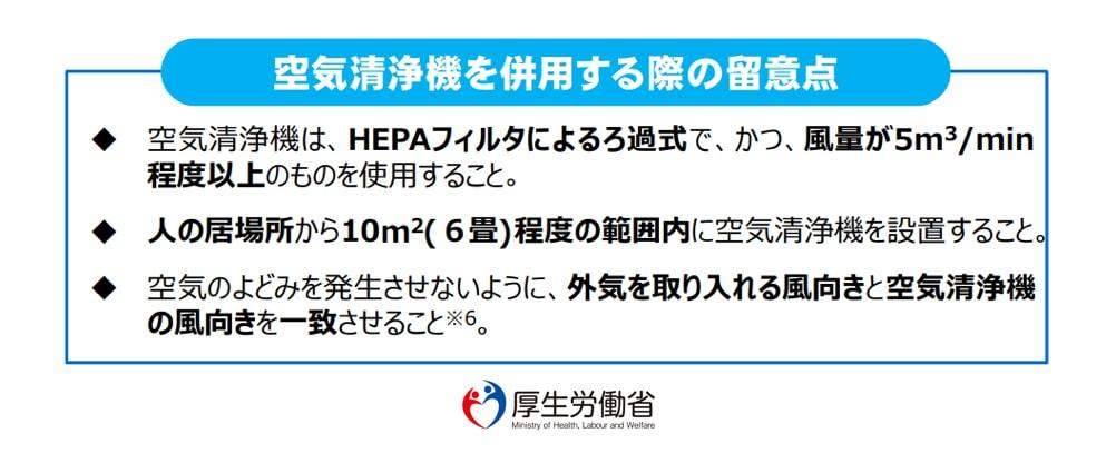 厚生労働省では換気の補完にHEPAフィルター空気清浄機を推奨の説明イラスト